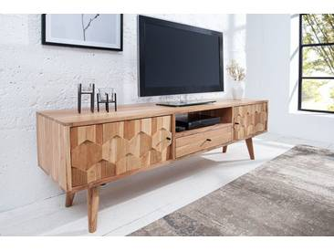 Massives TV Board MYSTIC LIVING 140cm Akazie natur 3D Oberfläche Massivholz