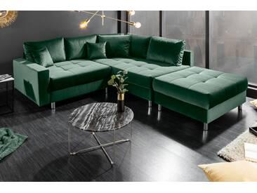 Elegante Wohnlandschaft KENT 220cm smaragdgrün Samt Ecksofa Federkern inkl. Hocker und Kissen