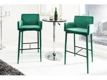Eleganter Design Barstuhl MILANO smaragdgrün Samt mit Armlehne