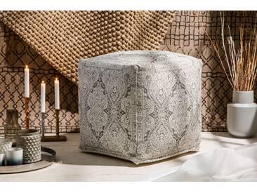 Design Pouf ORIENTAL grau weiß 52cm orientalischer Sitzhocker Leinenbezug