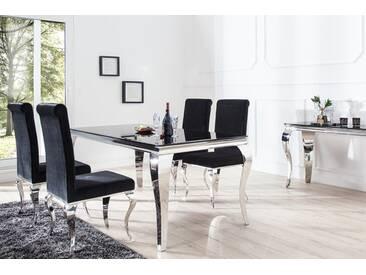 Monumentaler Esstisch MODERN BAROCK  silber 200 cm Tischbeine aus poliertem Edelstahl mit Opalglas