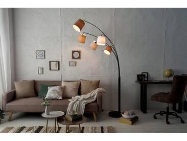 Design Bogenlampe LEVELS weiß beige braun mit 5 Leinen Schirmen