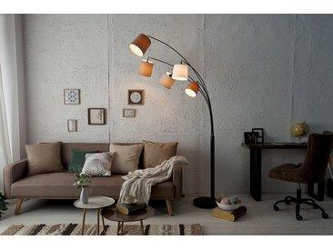 Design Bogenlampe LEVELS 200cm weiß beige braun 5 Leinen Schirmen Stehlampe