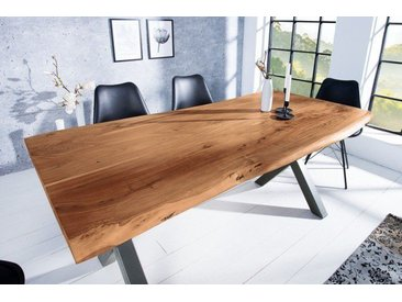 Massiver Baumstamm Tisch MAMMUT NATURE 180cm Akazie Massivholz 3,5cm dicke Platte Baumtisch