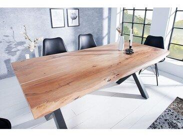 Massiver Baumstamm Tisch MAMMUT 180cm Akazie Massivholz 3,5cm dicke Platte Baumtisch