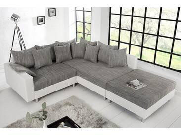 Design Ecksofa mit Hocker LOFT weiß Strukturstoff grau Federkern Sofa OT beidseitig aufbaubar