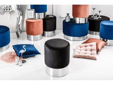 Eleganter Sitzhocker MODERN BAROCK 35cm Samt schwarz silber Beistelltisch