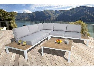 Große Garten Sitzgruppe MIAMI LOUNGE XL 245cm weiß grau Gartenmöbel inkl. Tisch und Kissen