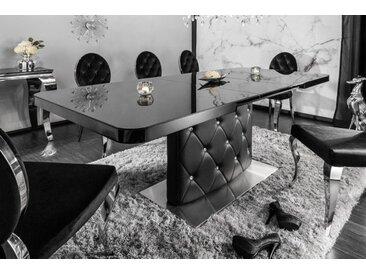 Ausziehbarer Esstisch HERITAGE 160-200cm schwarz Glasplatte Strass-Steine