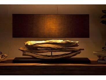 Große Design Lampe RIVERINE schwarz Treibholz Leuchte Handarbeit mit echten Leinenschirm