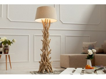 Handgefertigte Treibholz Stehlampe WILD NATURE 155cm sand mit Leinen Schirm