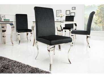 Eleganter Stuhl MODERN BAROCK schwarz Samt Stuhlbeine aus Edelstahl