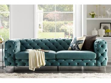 Extravagantes Samt Sofa MODERN BAROCK aqua 3-Sitzer Chesterfield Design