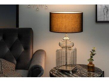 Elegante Tischleuchte CAGE 68cm silber Vintage Style mit Stoffschirm