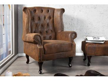Design Chesterfield Ohrensessel Antik braun
