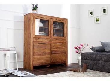 Massives Design Highboard PURE Sheesham Holz stone finish 120cm einzigartige Maserung
