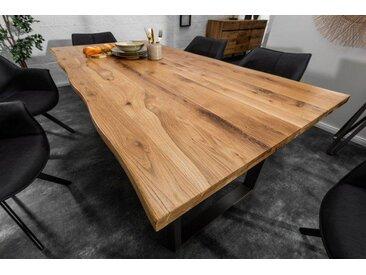 Massiver Baumkanten Esstisch LIVING EDGE 180cm Wildeiche geölt 3,5cm Tischplatte