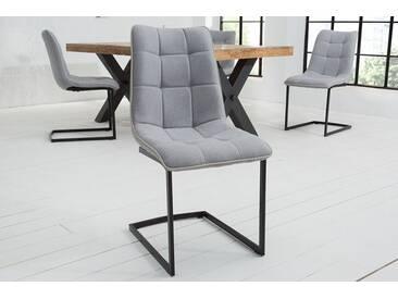 Design Freischwinger Stuhl MIAMI hellgrau Vintage Gestell matt schwarz