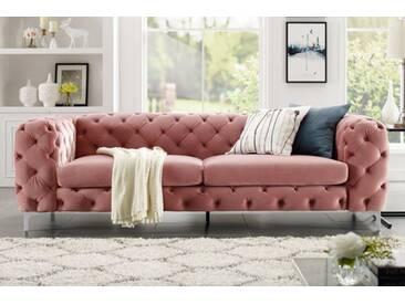 Extravagantes Samt Sofa MODERN BAROCK altrosa 3-Sitzer Chesterfield Design