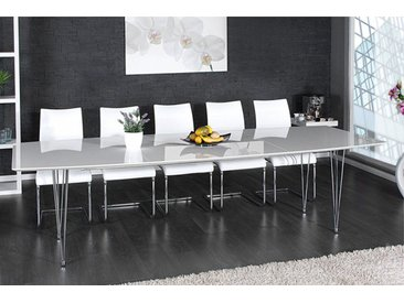 Moderner Esstisch CONTINENTAL 170-270cm weiß Hochglanz Konferenztisch