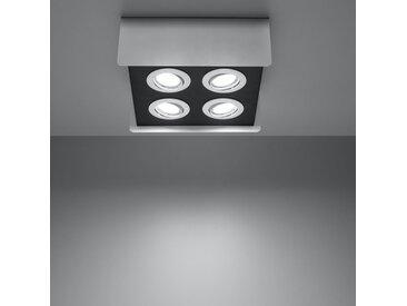 famlightsJoel Deckenlampe Deckenleuchte Strahler Spot Aufbaustrahler Diele GU10 Küche Schlicht Stahl weiss Zeitlos dimmbar  - EEK A++ [A++ bis E]