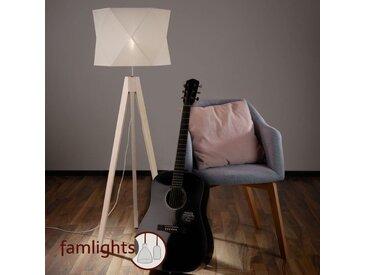 famlights | Stehleuchte Thore aus Holz und Stoff in Weiß E27 - Tripod Stehlampe - EEK A++ [A++ bis E]