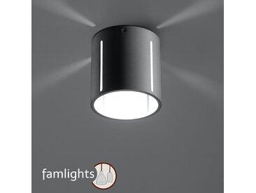 famlightsDeckenleuchte Deckenlampe Strahler Spot Aufbaustrahler Aluminium Flur G9 grau Schlicht Wohnzimmer Zeitlos Esszimmer dimmbar  - EEK A++ [A++ bis E]