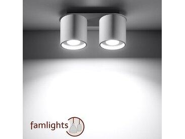 famlightsChristina Deckenleuchte Deckenlampe Strahler Spot Aufbaustrahler Aluminium Flur GU10 Schlafzimmer Schlicht weiss Wohnzimmer Zeitlos dimmbar  - EEK A++ [A++ bis E]