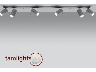 famlightsAngelina Deckenlampe Deckenleuchte Strahler Spot Aufbaustrahler Diele grau GU10 Schlicht Stahl Wohnzimmer Zeitlos Esszimmer dimmbar  - EEK A++ [A++ bis E]
