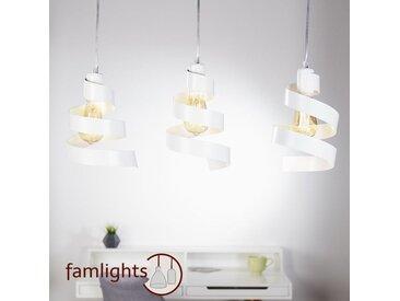 famlightsMarek Pendelleuchte Hängeleuchte Dekorativ E27 Küche Metall Modern weiss Esszimmer dimmbar  - EEK A++ [A++ bis E]