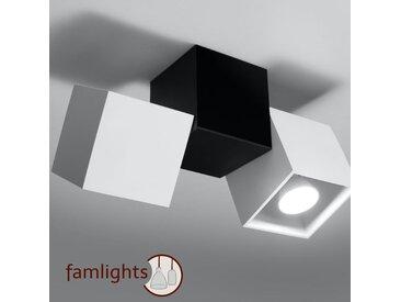 famlightsDeckenleuchte Deckenlampe Strahler Spot Aufbaustrahler Aluminium Flur GU10 Modern weiss Wohnzimmer Zeitlos Esszimmer dimmbar  - EEK A++ [A++ bis E]