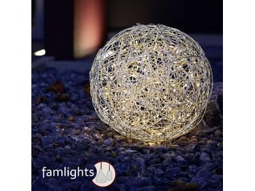 famlightsDekobeleuchtung Lichtobjekte Gartenkugel Moderne Stehlampe Aluminium chrom IP44 LED Terrasse Warmweiß Garten Netzstecker  - EEK A [A++ bis E]