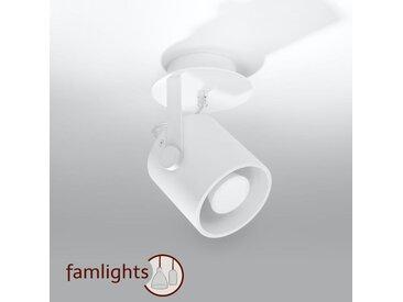 famlightsIsabelle Deckenleuchte Deckenlampe Strahler Spot Aufbaustrahler Flur GU10 Schlafzimmer Schlicht Stahl weiss Wohnzimmer Zeitlos dimmbar  - EEK A++ [A++ bis E]