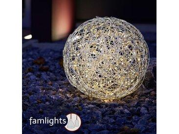 famlightsDrahtkugel Dekobeleuchtung Lichtobjekte Gartenkugel Moderne Stehlampe Aluminium chrom IP44 LED Terrasse Warmweiß Garten Netzstecker  - EEK A [A++ bis E]