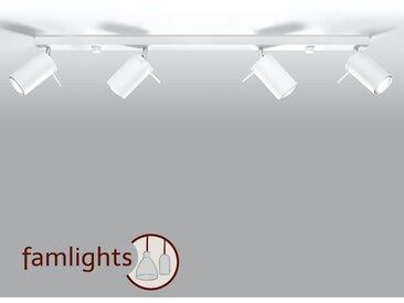 famlightsDeckenleuchte Deckenlampe Strahler Spot Aufbaustrahler GU10 Küche Modern Schlicht Stahl weiss Wohnzimmer Esszimmer dimmbar schwenkbar  - EEK A++ [A++ bis E]