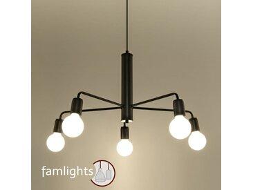 famlightsHängeleuchte Pendelleuchte E27 Modern Schlicht schwarz Stahl Wohnzimmer Esszimmer dimmbar  - EEK A++ [A++ bis E]