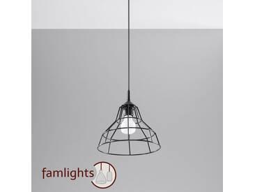 famlightsCornelius Hängeleuchte Pendelleuchte E27 Schlicht schwarz Stahl Vintage Wohnzimmer Esszimmer dimmbar  - EEK A++ [A++ bis E]