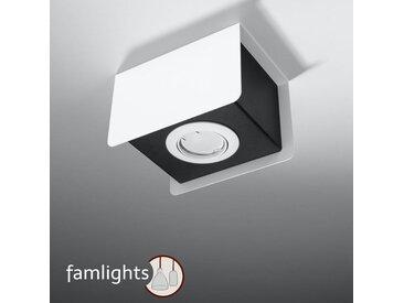 famlightsDeckenleuchte Deckenlampe Strahler Spot Aufbaustrahler Flur GU10 Küche Schlicht Stahl weiss Zeitlos dimmbar  - EEK A++ [A++ bis E]