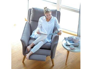 Moderner hochwertiger Relaxsessel Ohrensessel Fernsehsessel mit Funktion Insideout Eiche massiv Hellgrau