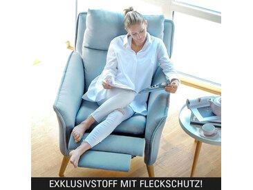 Moderner hochwertiger Relaxsessel Ohrensessel Fernsehsessel mit Funktion Insideout Buche massiv hellblau P9908 mit Fleckschutz