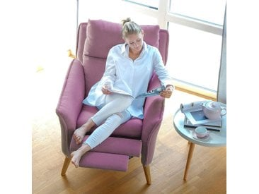 Moderner hochwertiger Relaxsessel Ohrensessel Fernsehsessel mit Funktion Insideout Buche massiv Rosa
