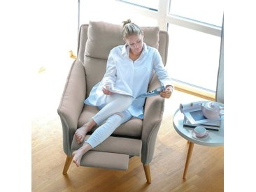 Moderner hochwertiger Relaxsessel Ohrensessel Fernsehsessel mit Funktion Insideout Buche massiv Creme