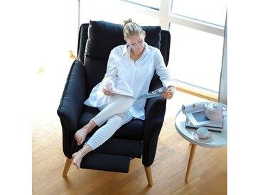 Moderner hochwertiger Relaxsessel Ohrensessel Fernsehsessel mit Funktion Insideout Buche massiv Schwarz