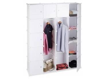 Kleiderschrank - 14 Fächer Farbe: Weiß