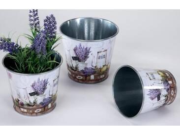 Blumentöpfe aus Zinkmetall mit Lavendeldekor im 3er Set rund