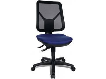 Bürodrehstuhl Sitzhöhe 430-510mm blau mit Lendenwirbelstütze ohne Armlehnen