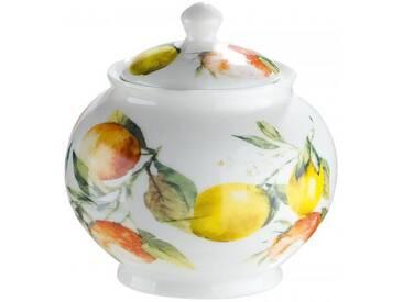 GILDE Zuckerdose aus Knochenporzellan im Zitronen und Orangendesign