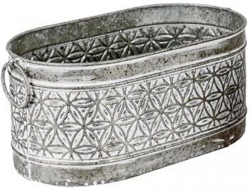 Dekojohnson Jardiniere Pflanzgefäß grau weiß aus Metall 36x19x16 cm