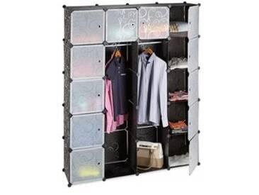 Kleiderschrank - 14 Fächer Farbe: Schwarz