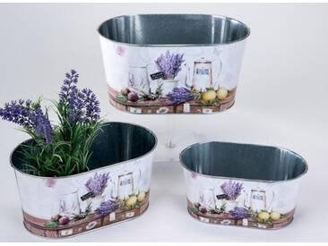 Jardiniere Pflanzgefäß Lavendel aus Metall im 3er Set